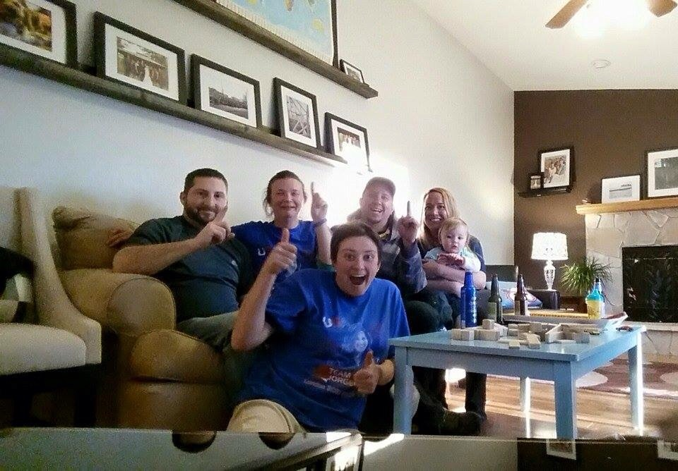 My sister and her friends viewing the Badger Game and then the ITU triathlon.