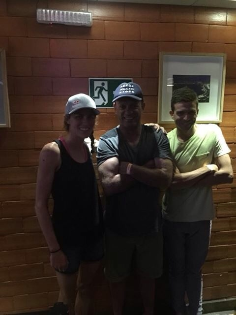 This photo is dark, but it's one of my favorites. It is me, Coach Jamie, and Aaron Royle who also qualified for the Olympics!