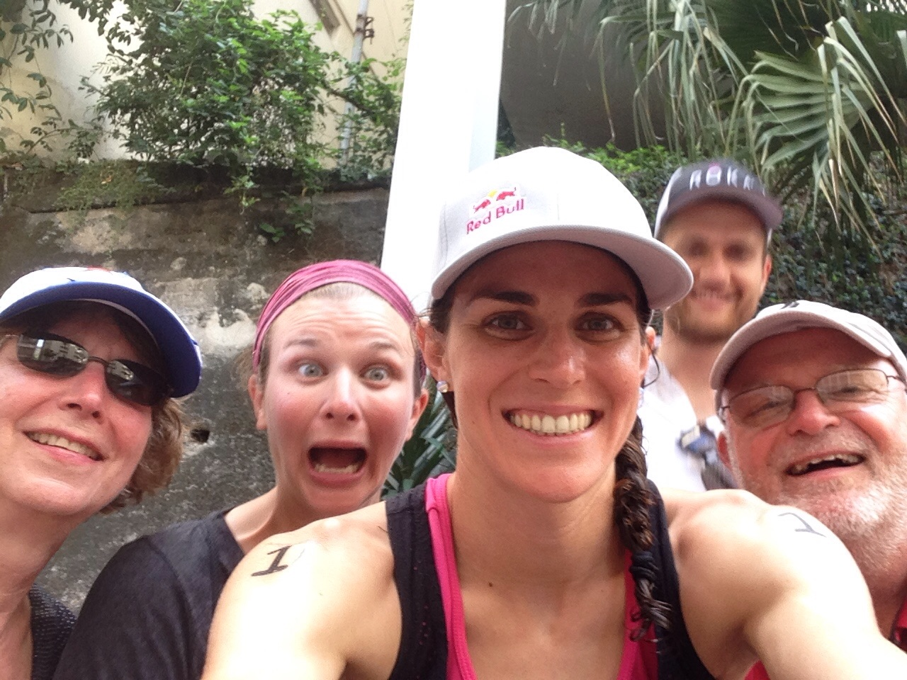 Post race selfie with the family while watching the men race