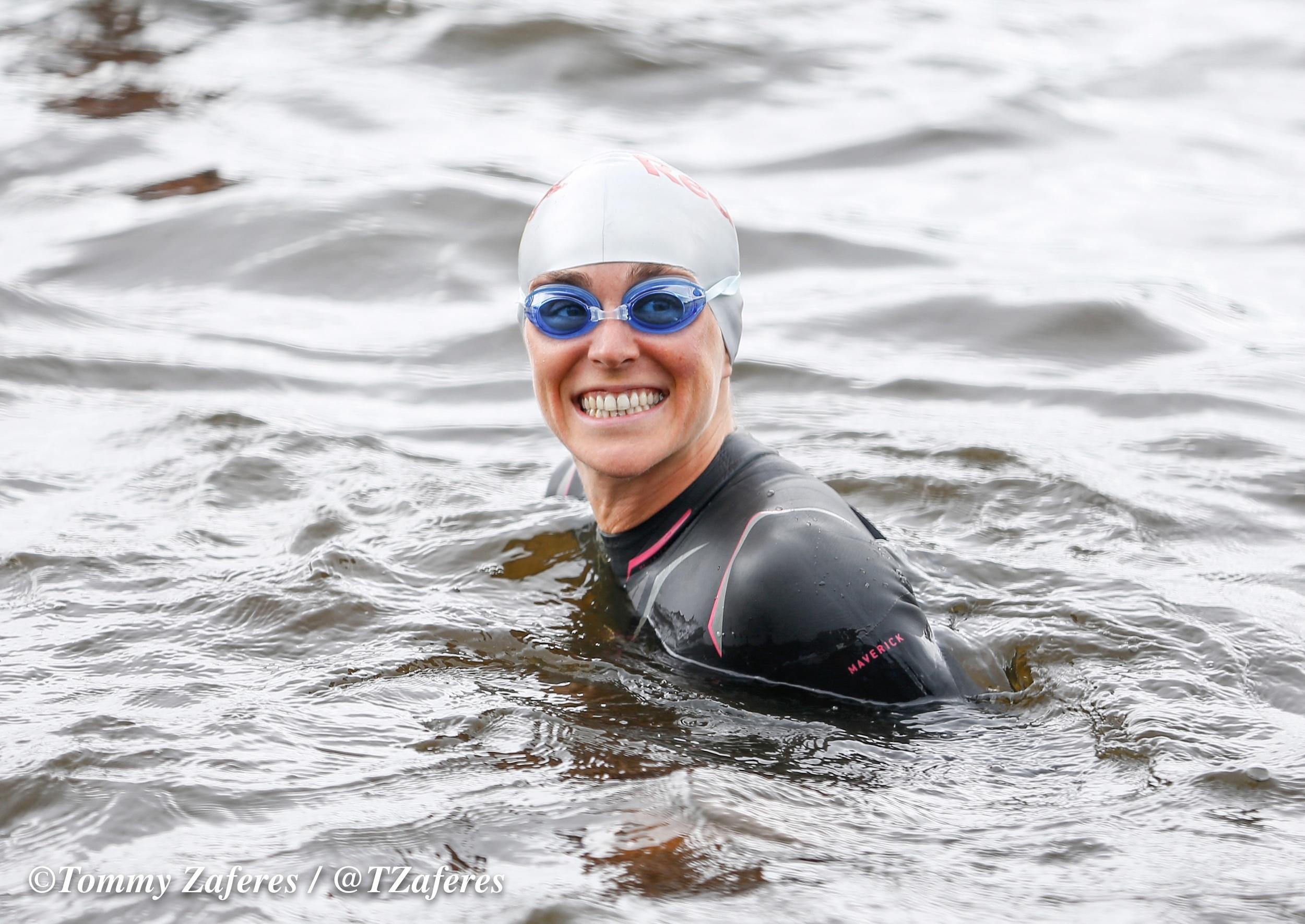 Pre race swim. Photo credit: Tommy Zaferes