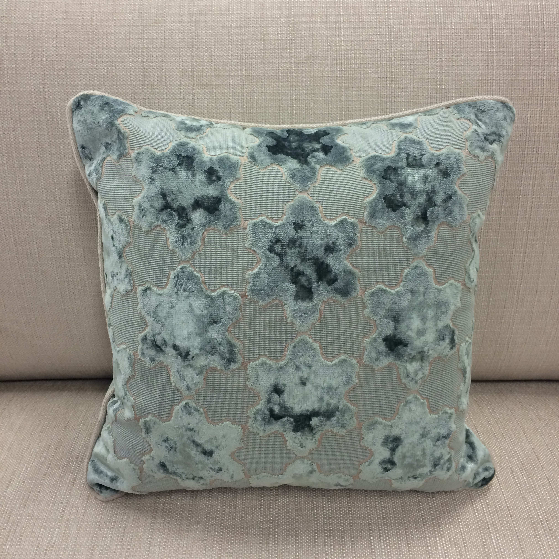 $204 ea  Size: Square Small  Fabric:Etoile Sable/Matteo Duck Egg
