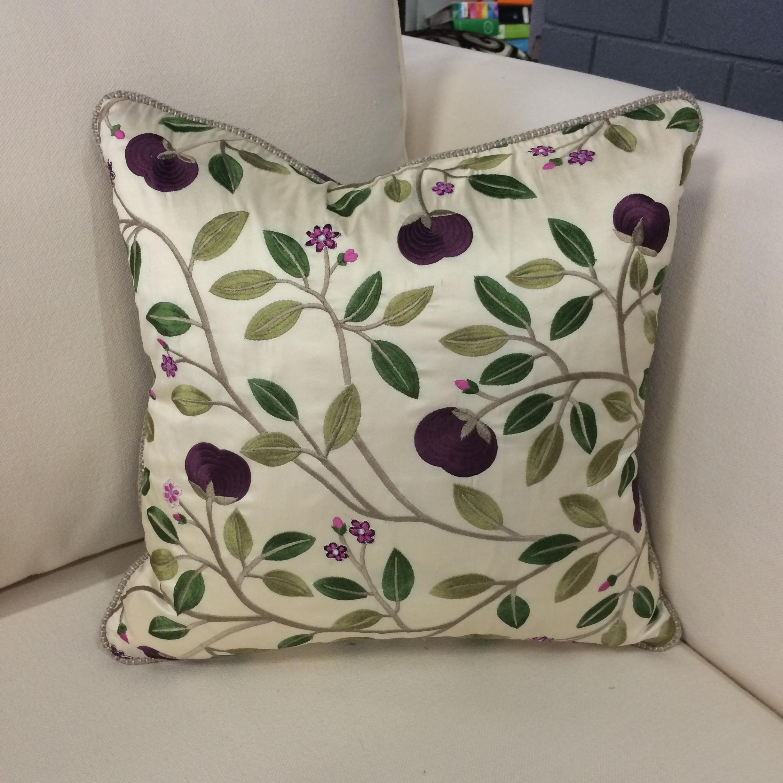 $216 ea  Size: Square Small  Fabric:Medlar Silk Aubergine/Vigo Jewel