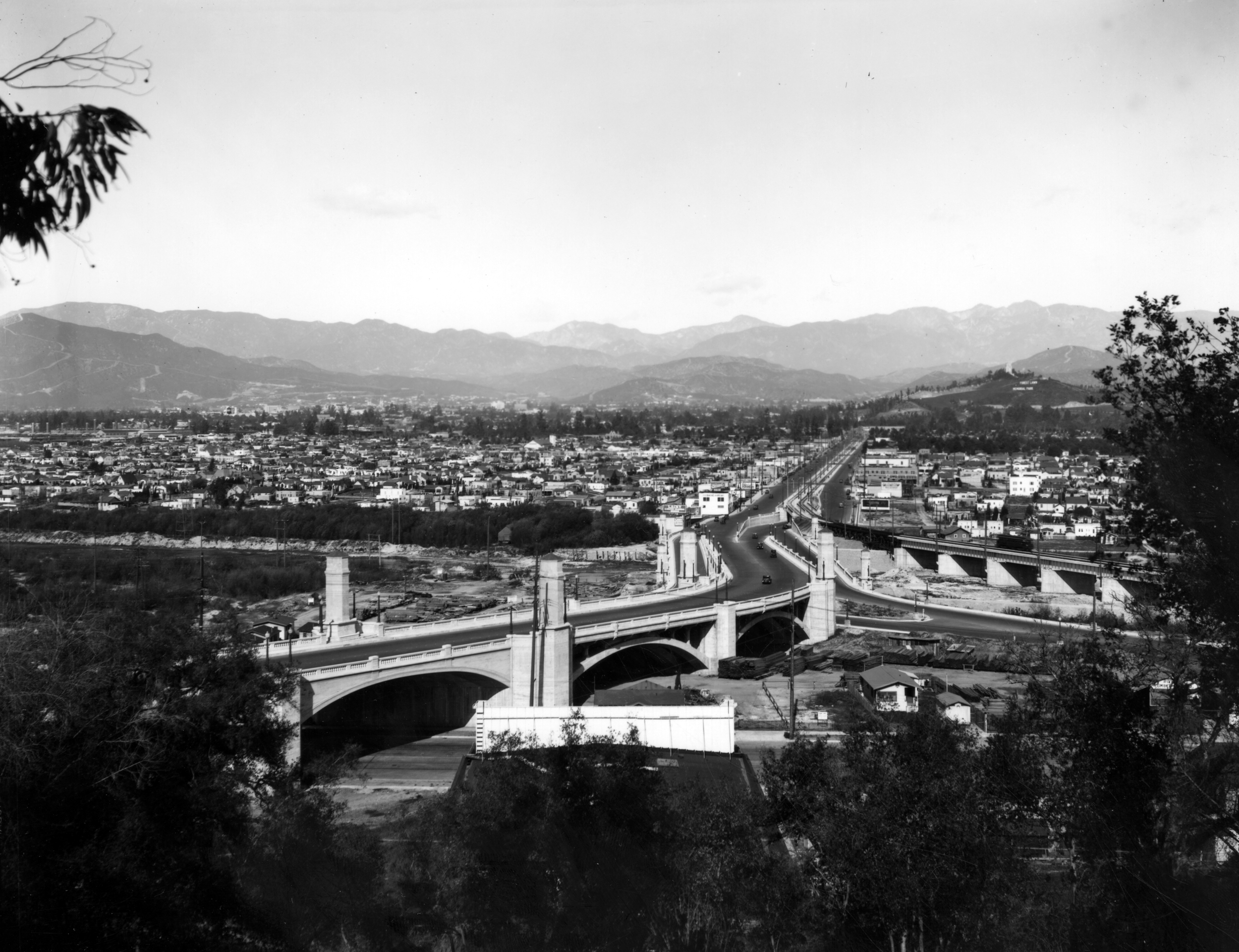 View of Atwater Village and the Hyperion Bridge, 1940's