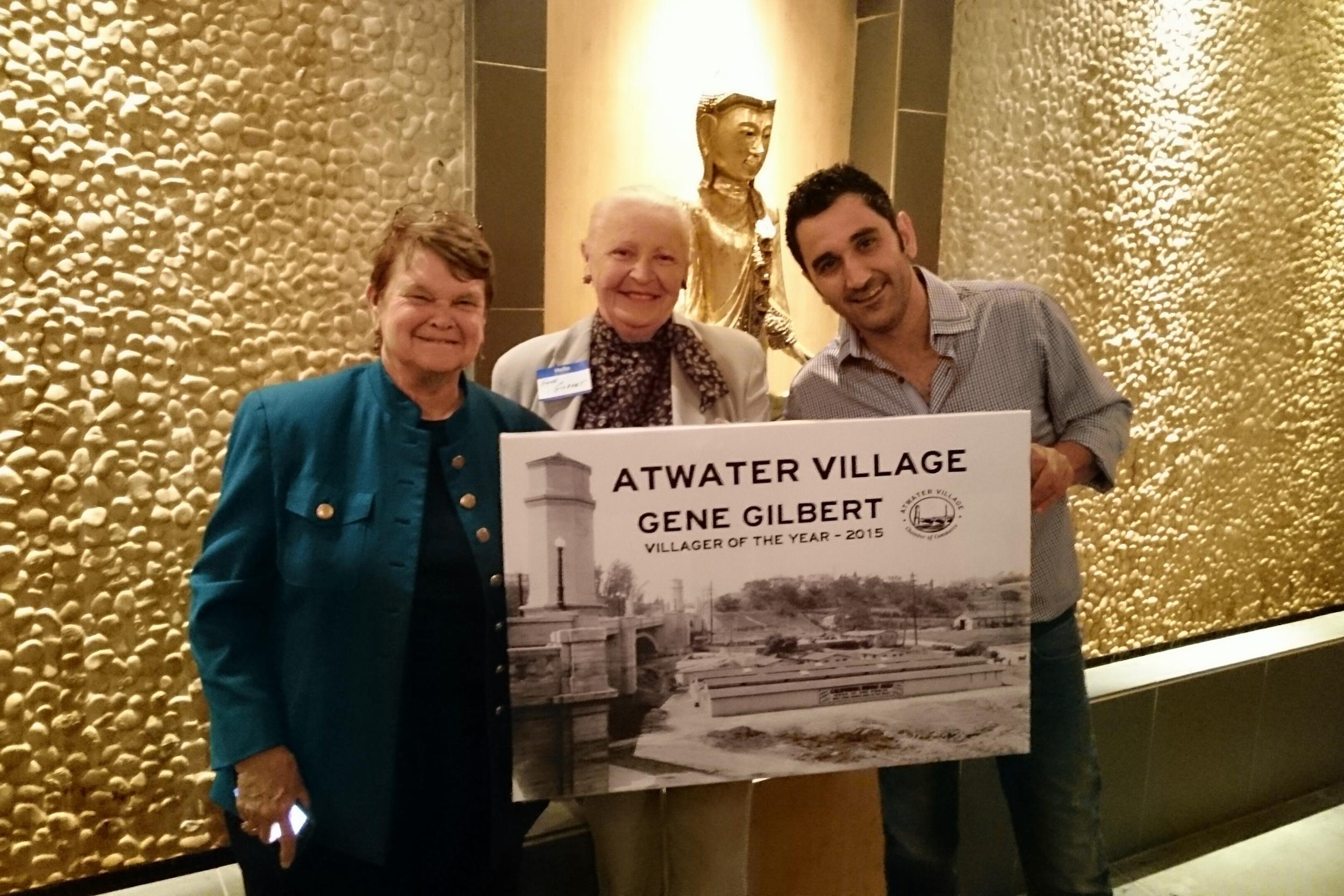 Supervisor Shelia Kuehl, Villager of the Year Honoree Gene Gilbert and Chamber President Andy Hasroun