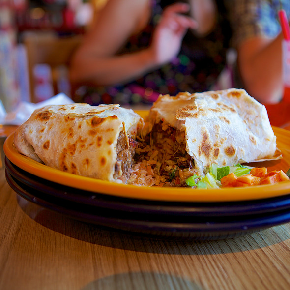 """Papalote's Triple Threat Burrito. Fantastic at multiple levels--it's surf and turf at it's finest, with a hint of Bay Area DJ culture."""