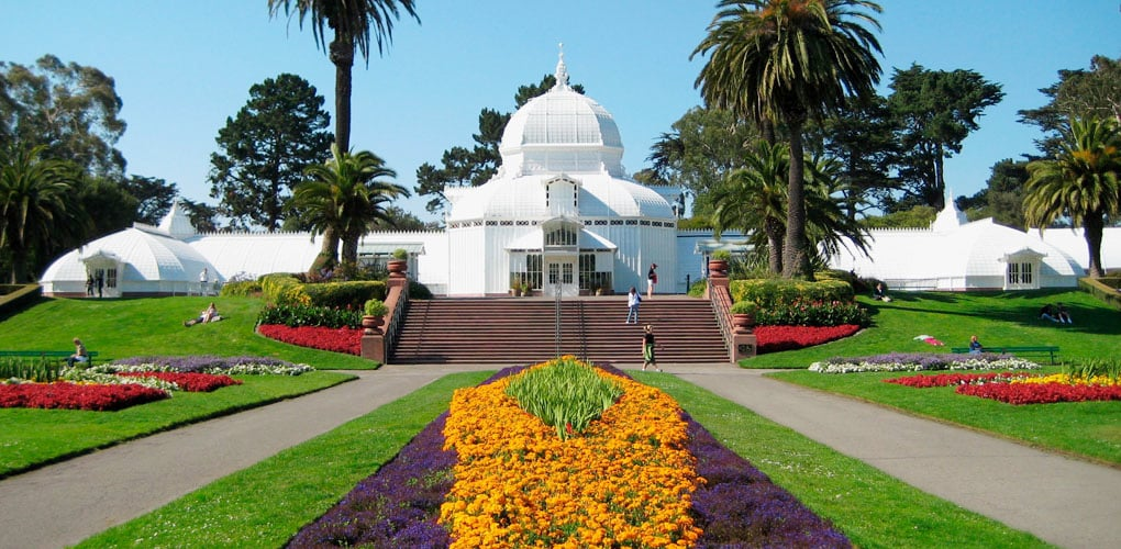 The Conservatory of Flowers is a colorful meeting spot in Golden Gate Park. The beloved park, which borders the Inner Richmond on the south, is home to many other cultural attractions and miles of hiking trails, picnic spots and lakes.