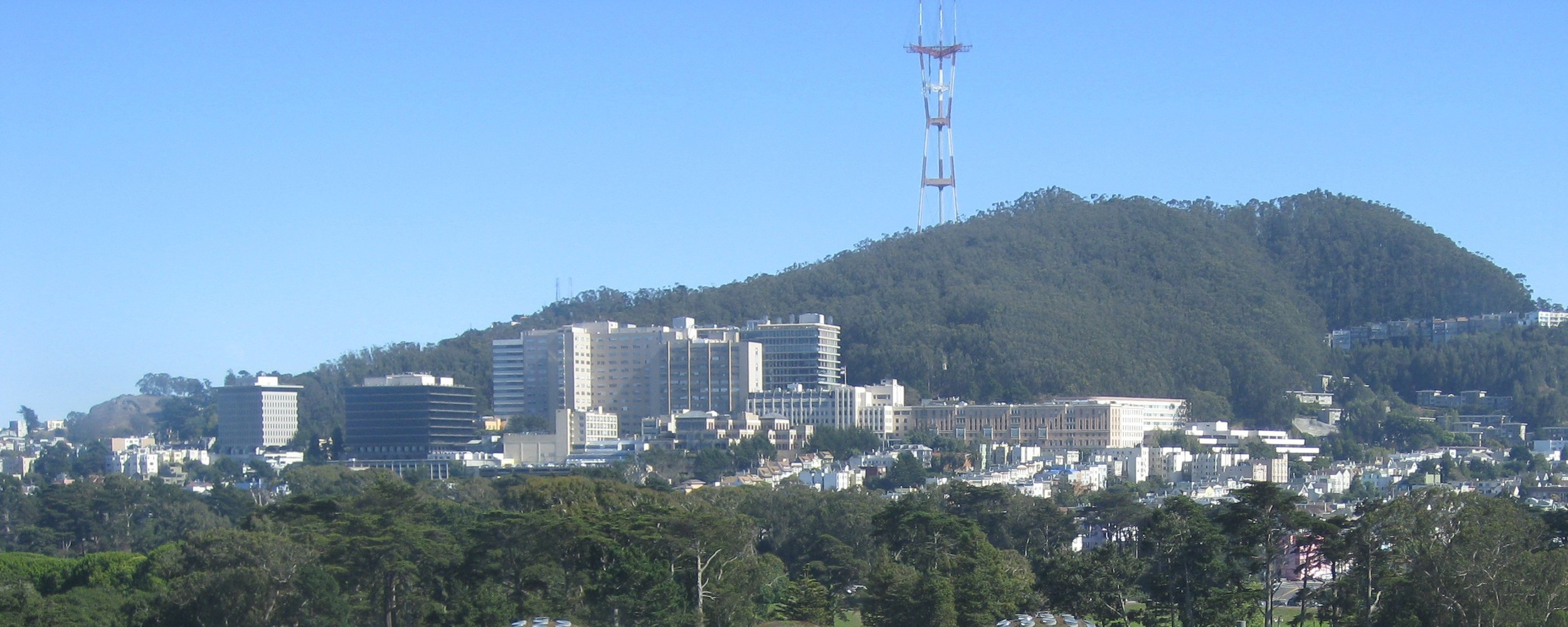 The UCSF campus at Parnassus Heights is a neighborhood landmark at the foot of Mount Sutro.