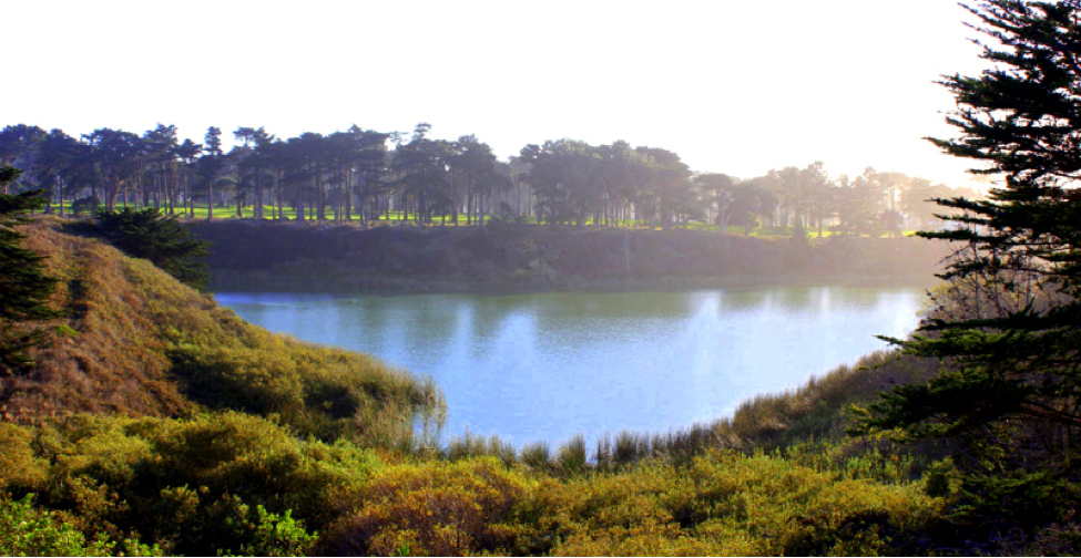 Lake Merced Park is a 614-acre park with a 4.5-mile recreational trail encircling a freshwater lake that's popular for fishing, boating, jogging and biking.
