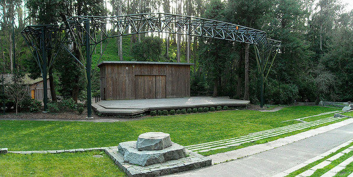 Sigmund Stern Recreation Grove, home of the free summer concert series Stern Grove Festival, boasts a sophisticated amphitheater surrounded by lush greenery.