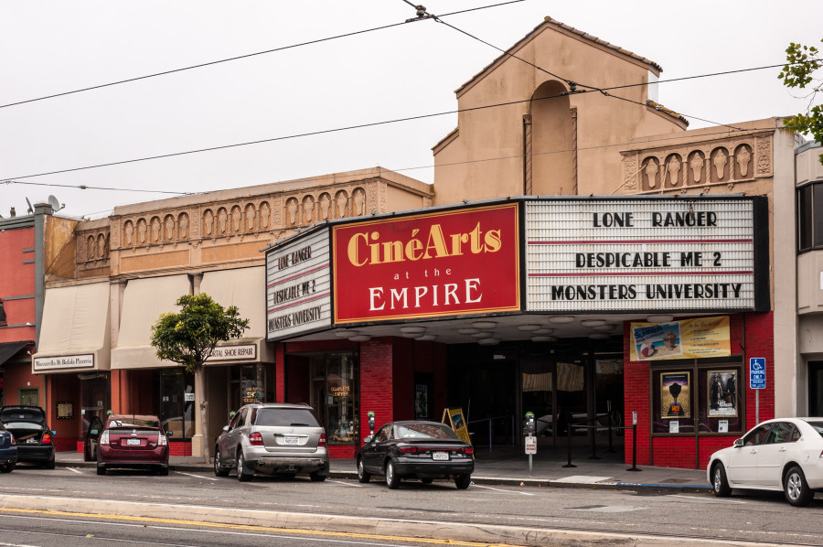 One of the last remaining small neighborhood movie theaters in the city, CinéArts at the Empire on West Portal Avenue, with its vintage façade, is still going strong.