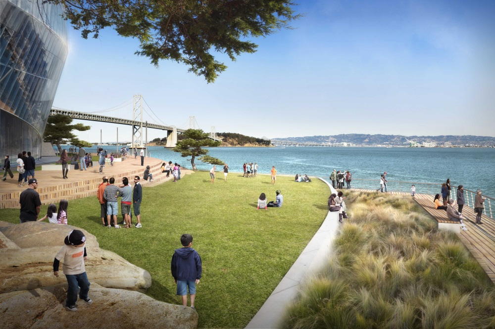 A pocket park at Mission Bay and Terry Francois Blvd. includes a plaza and benches.
