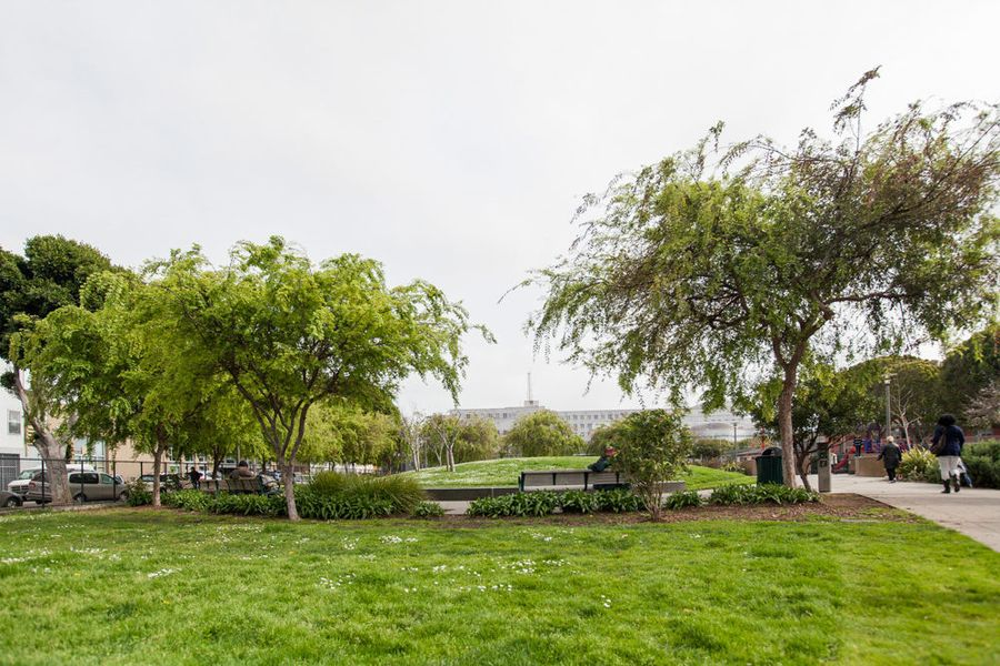Victoria Manalo Draves Park is an intimate public space featuring a community garden, softball field, basketball court, and playground.