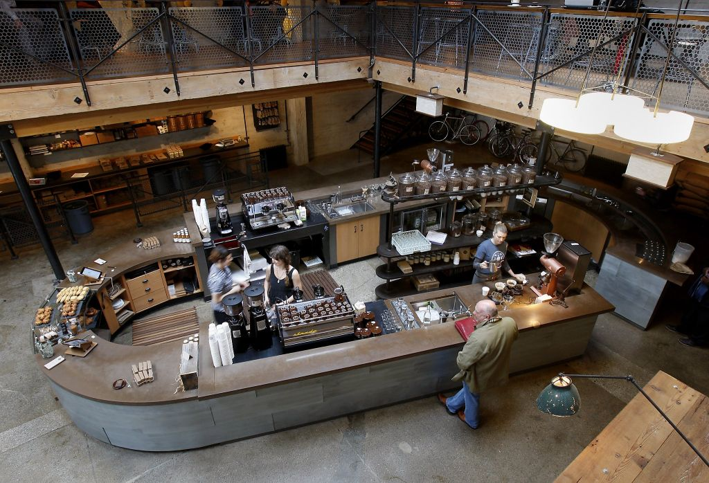 Sightglass Coffee pours out potent cups of its single-origin, tiny-production coffee.