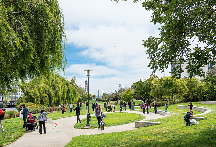 The Mission Creek promenade is a great place for a stroll.