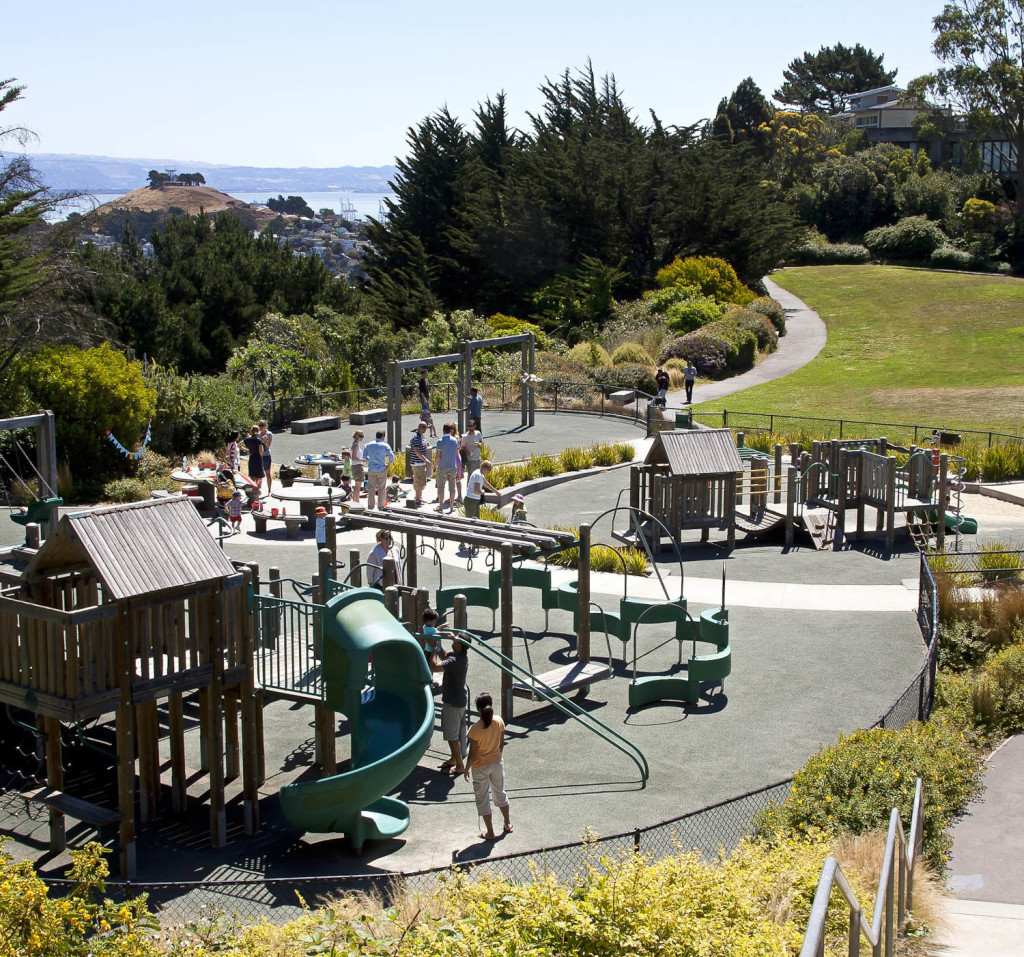 Walter Haas Playground offers swings, climbing areas, a basketball court, hiking trails and magnificent views.