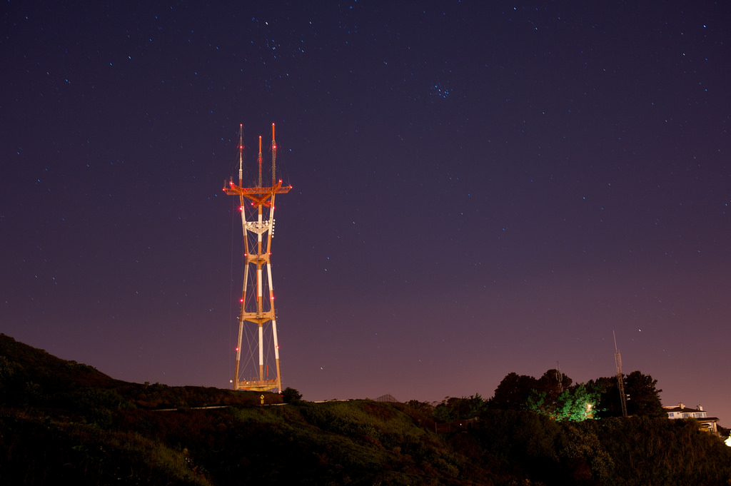 Sutro Tower, projecting from nearby Clarendon Heights, is one of the most recognized city landmarks.