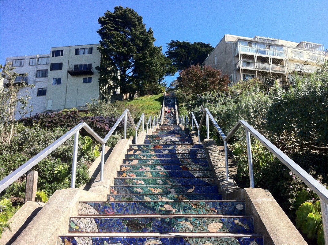 The brick-paved, landscaped Pemberton Place Steps run from Clayton up to Crown Terrace. Not far away, near Corbett Avenue and Iron Alley, are the Iron Steps (which are actually made of wood), and further south on Corbett, the Argent Alley stairway descends to Market Street.