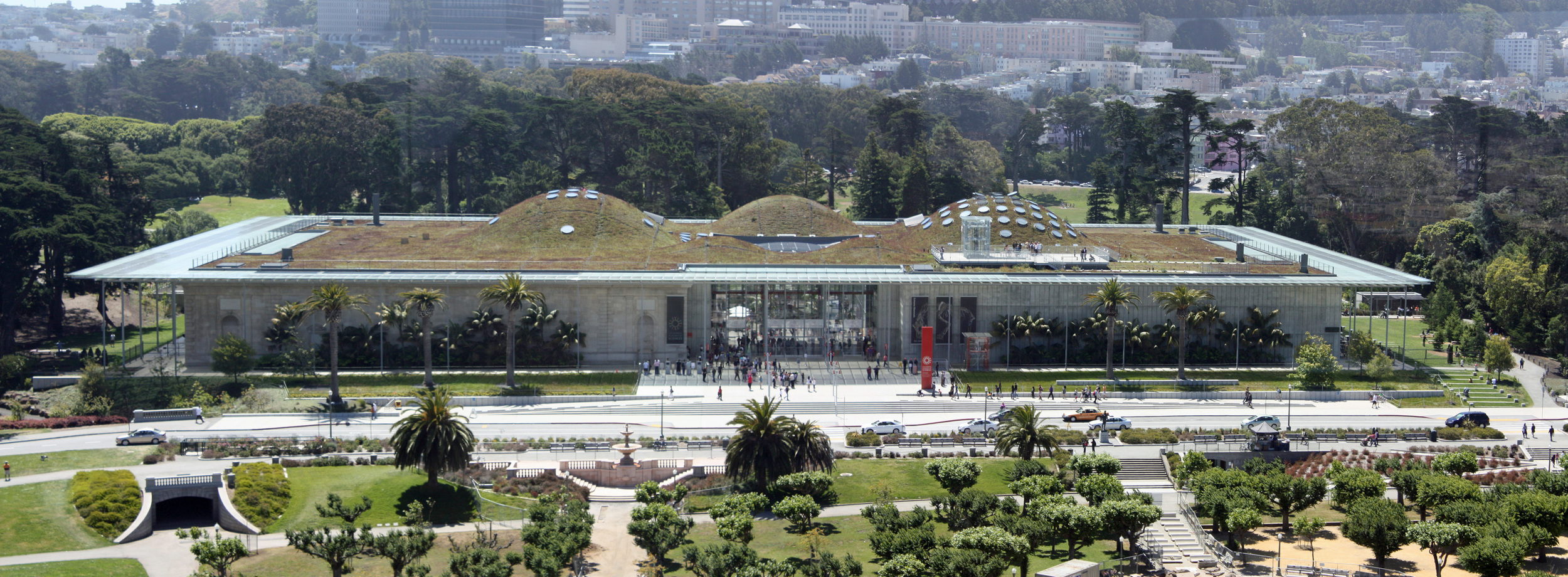People are drawn to the many museums within Golden Gate Park, including the De Young Art museum and the California Academy of Sciences, above, known for its four-story rainforest exhibit.