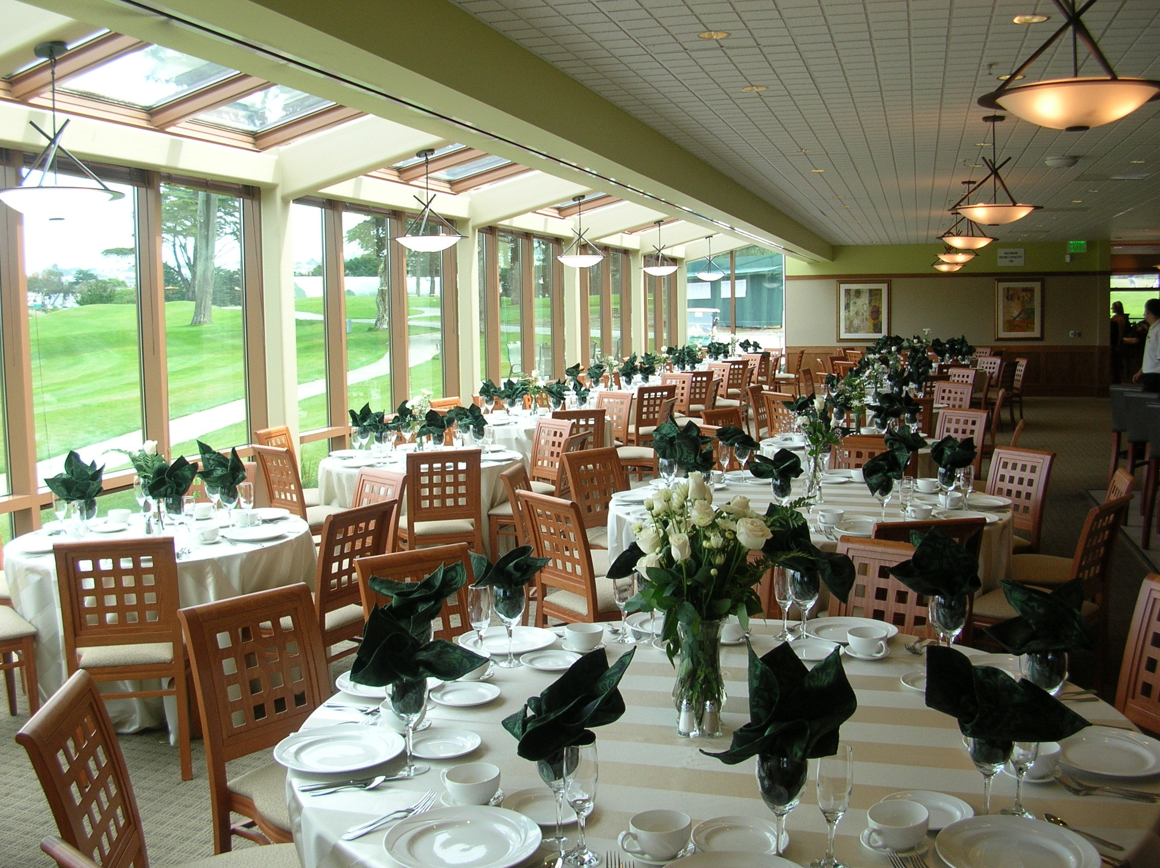 The Cypress Grill in the clubhouse of the Harding Park Golf Course offers gorgeous views of Lake Merced.