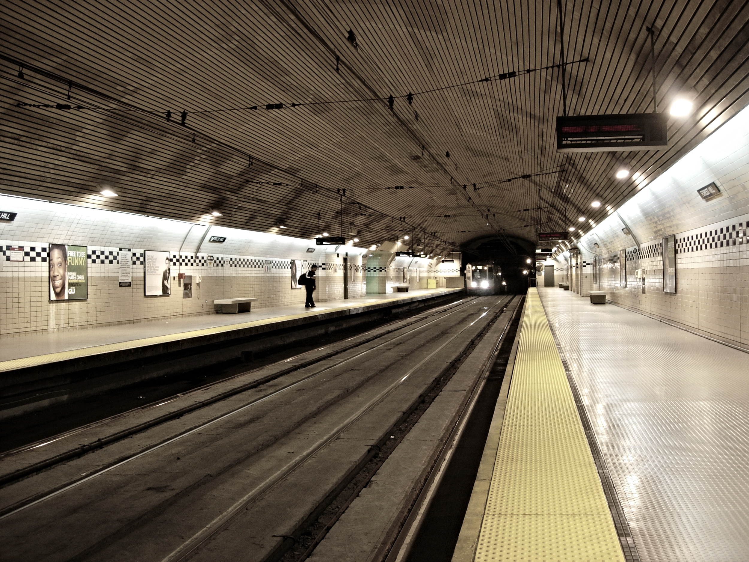 The Forest Hill MUNI Station was originally built as part of the Twin Peaks Tunnel in 1916-1918, and is the oldest subway station west of Chicago.