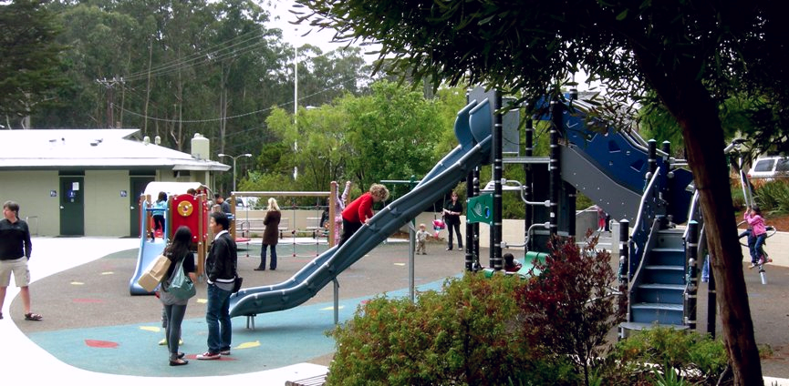 Midtown Terrace Playground features a modern play structure, sandbox, basketball courts and grassy picnic area.