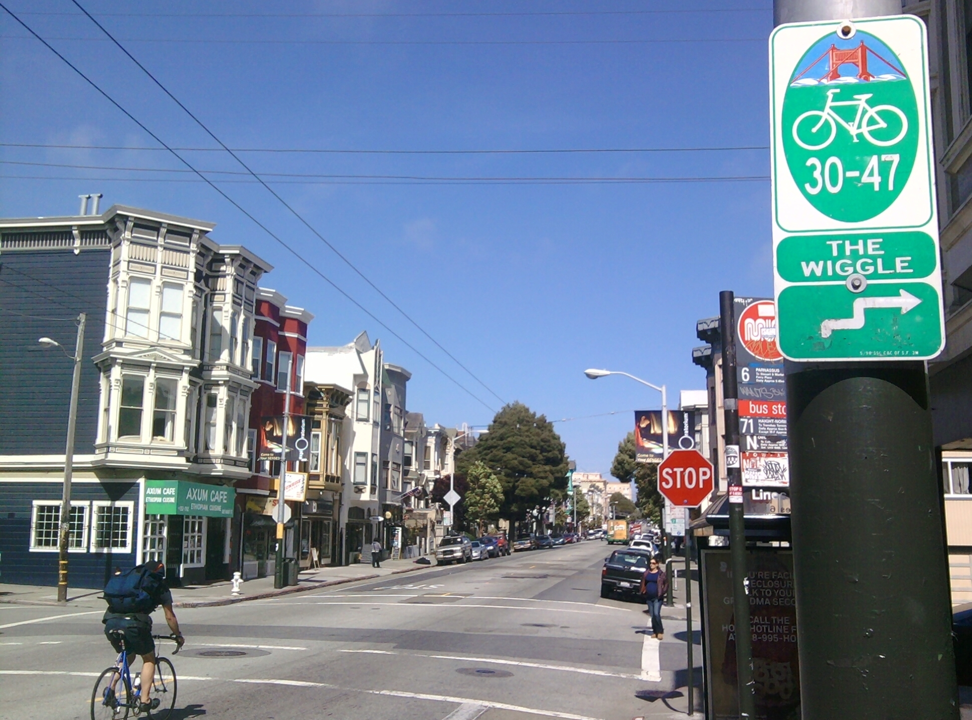 Haight Ashbury is one of the neighborhoods served by the Wiggle, a one-mile, flat bicycle route that runs from Market Street to Golden Gate Park.