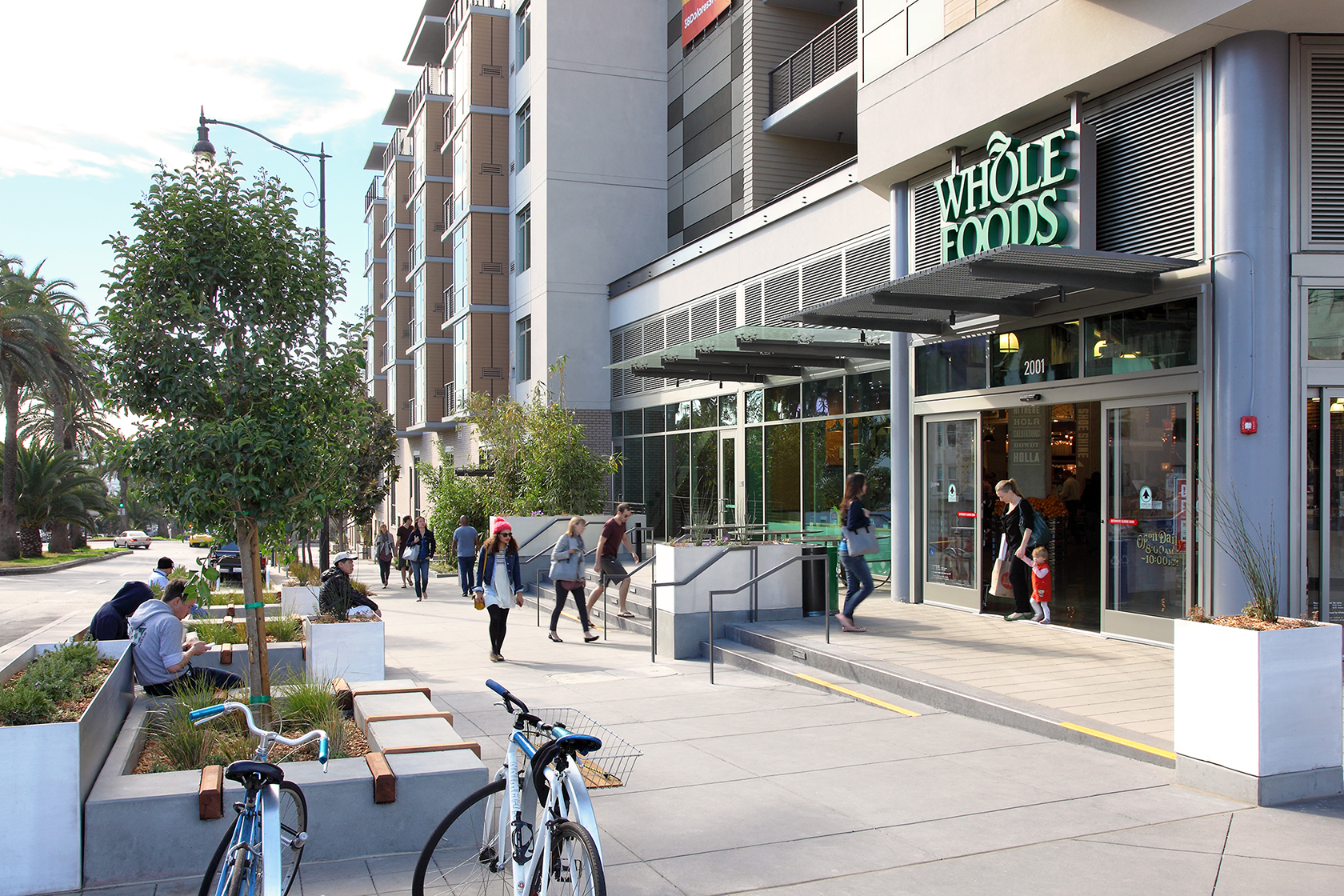 A Whole Foods supermarket offers healthy, organic groceries and a dine-in area.