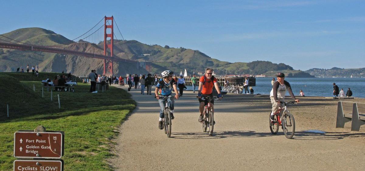 Residents enjoy strolling, walking dogs and biking on beautiful Crissy Field.