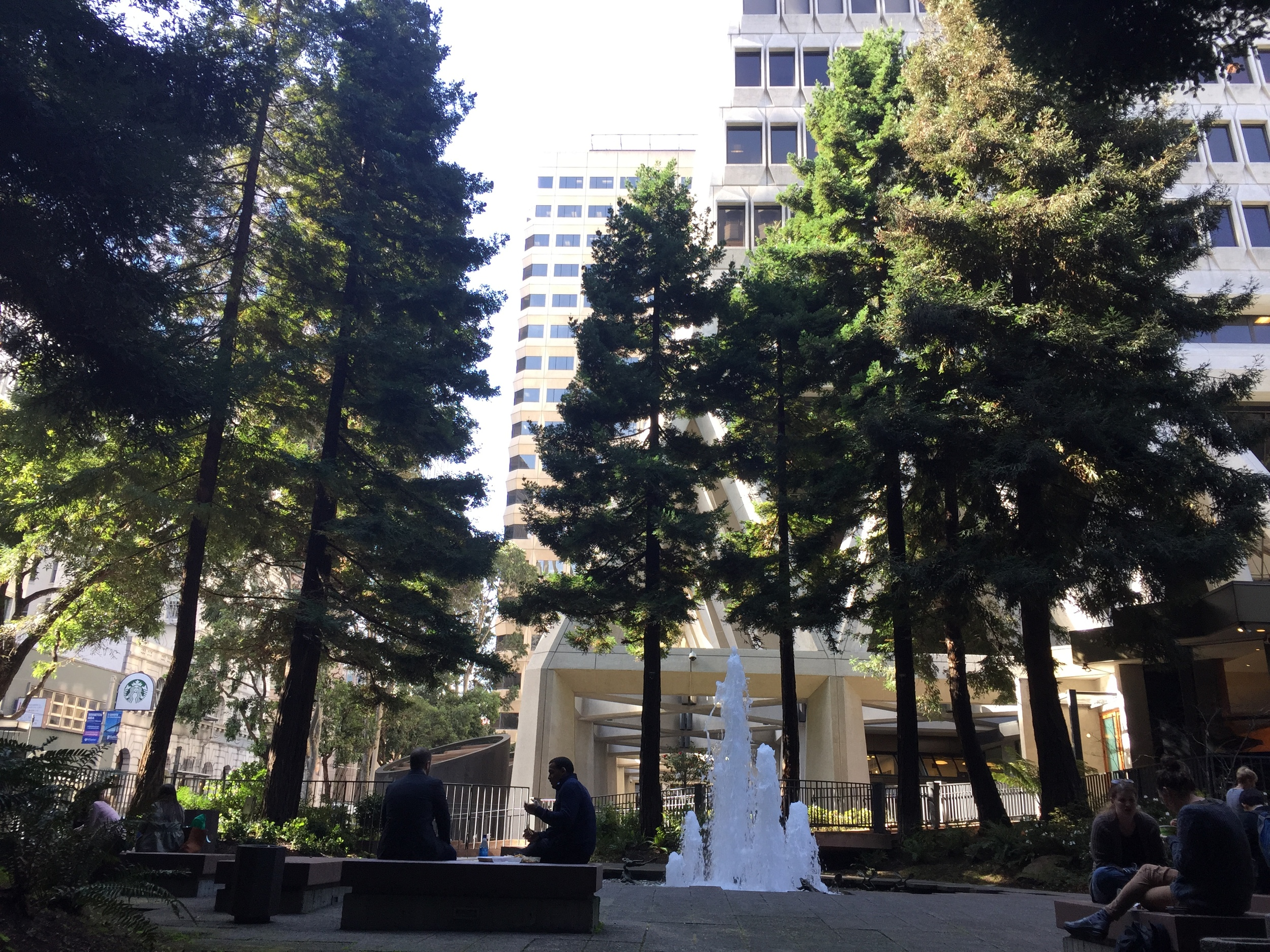 Transamerica Redwood Park is a serene public space dotted redwood trees, benches, and a fountain honoring Mark Twain.
