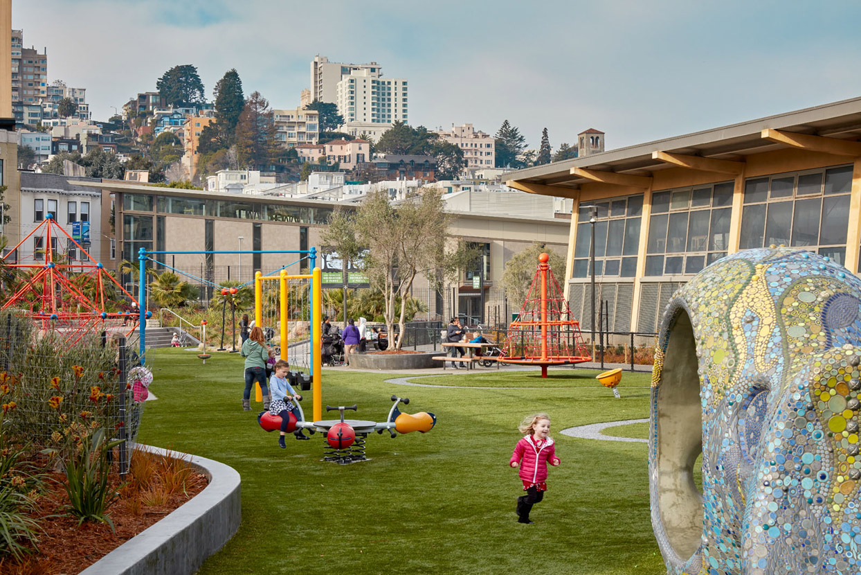 In the heart of North Beach, the Joe DiMaggio Playground has a swimming pool, library, clubroom, children's playground and tennis, basketball, and bocce courts.
