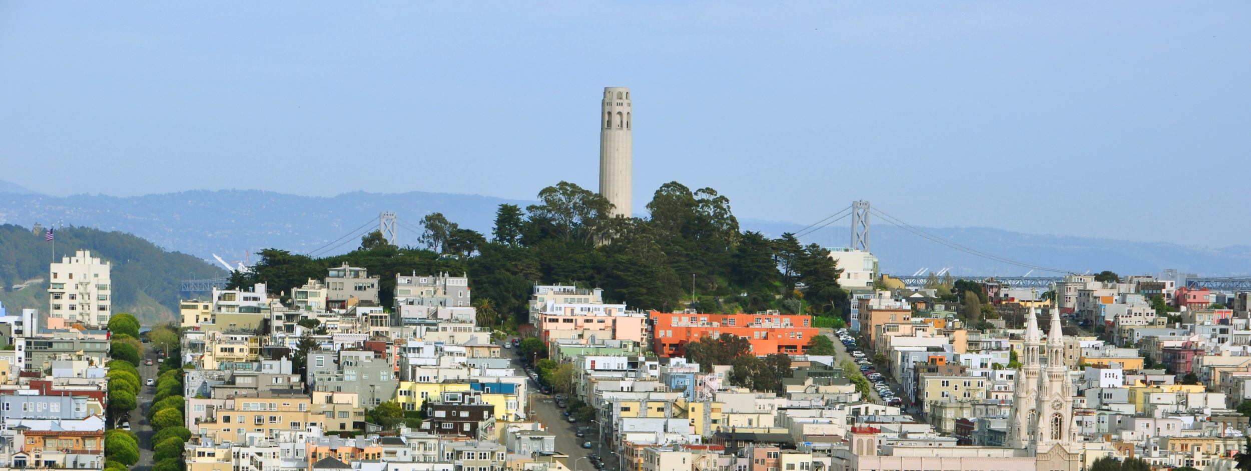 In nearby Telegraph Hill stands Coit Tower, a 210-foot structure also known as the Lillian Coit Memorial Tower.