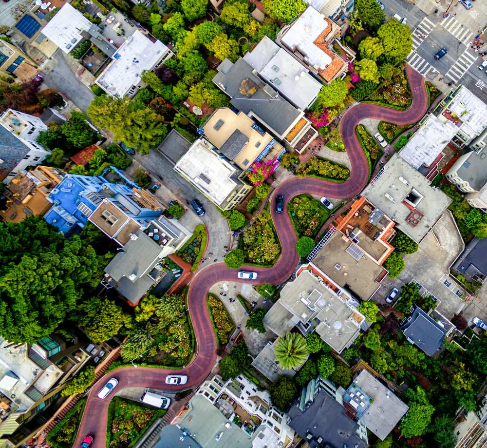 """Winding Lombard Street is """"the crookedest"""" and probably the most photographed, street in San Francisco."""