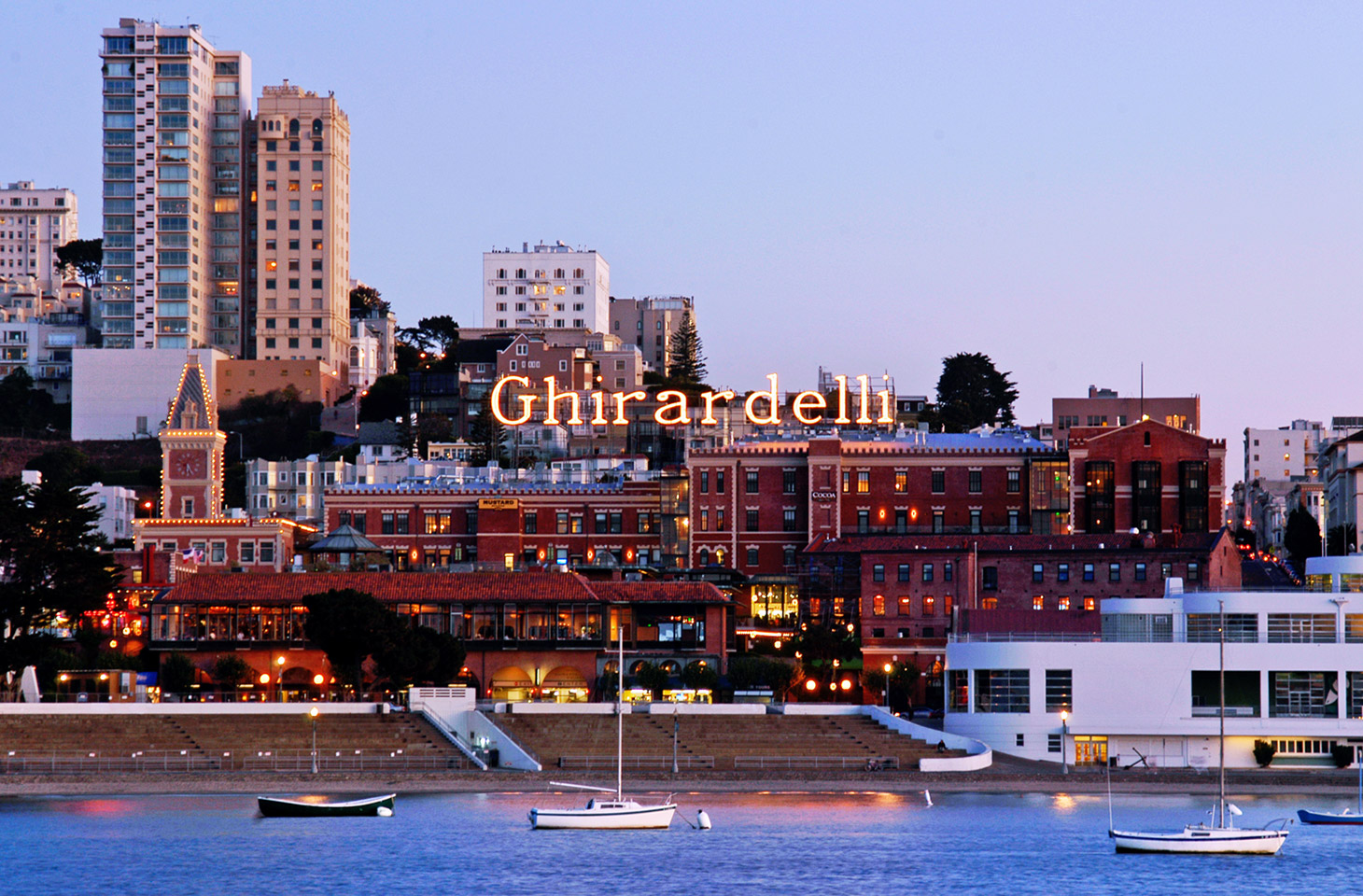 Ghirardelli Square is home to upscale shops, wine bars and the famed Ghirardelli chocolate company.