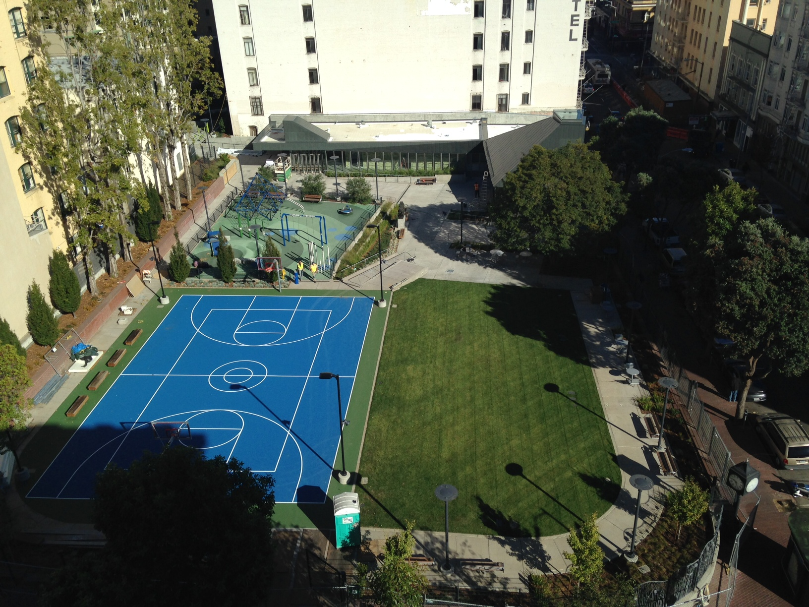 Father Alfred E. Boeddeker Park is a small urban park offering play facilities for kids, a basketball court, and community clubhouse.