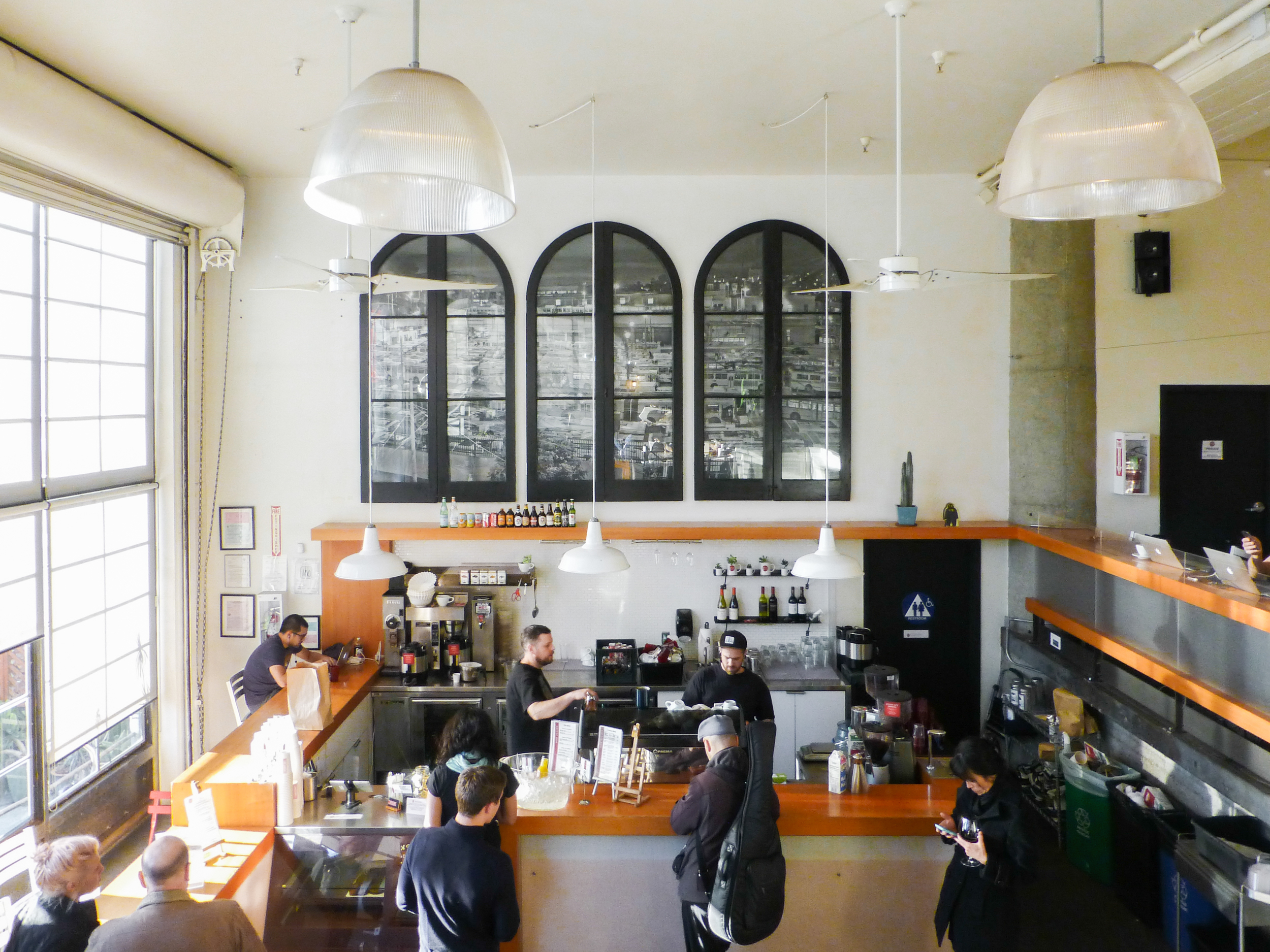 Housed in a sleek, modern setting, Coffee Bar on Bryant Street serves light bites and coffee made from locally roasted beans.