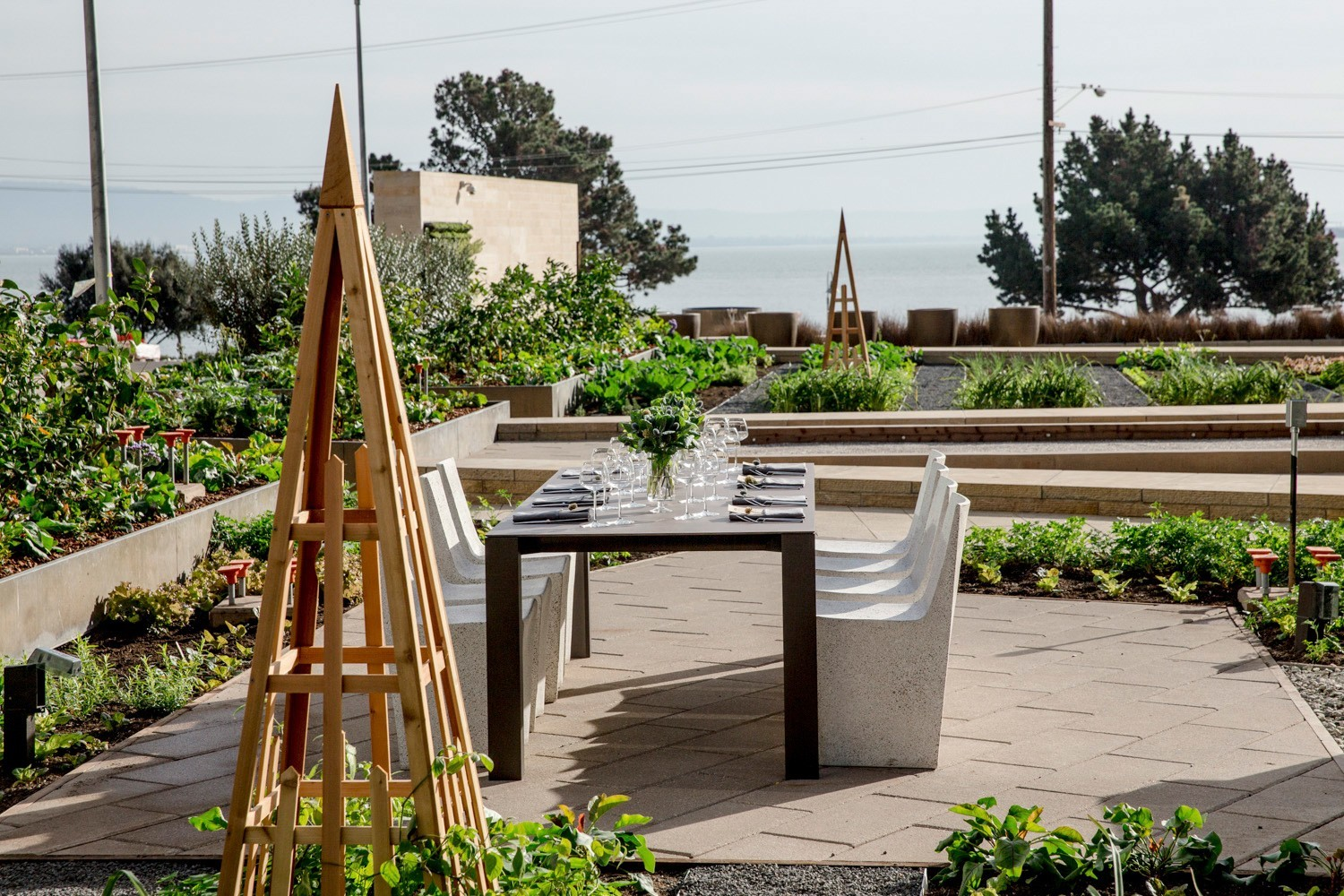 Stem Kitchen boasts a chef's table, on-site garden, bocce ball court and a lawn with views of San Francisco Bay.