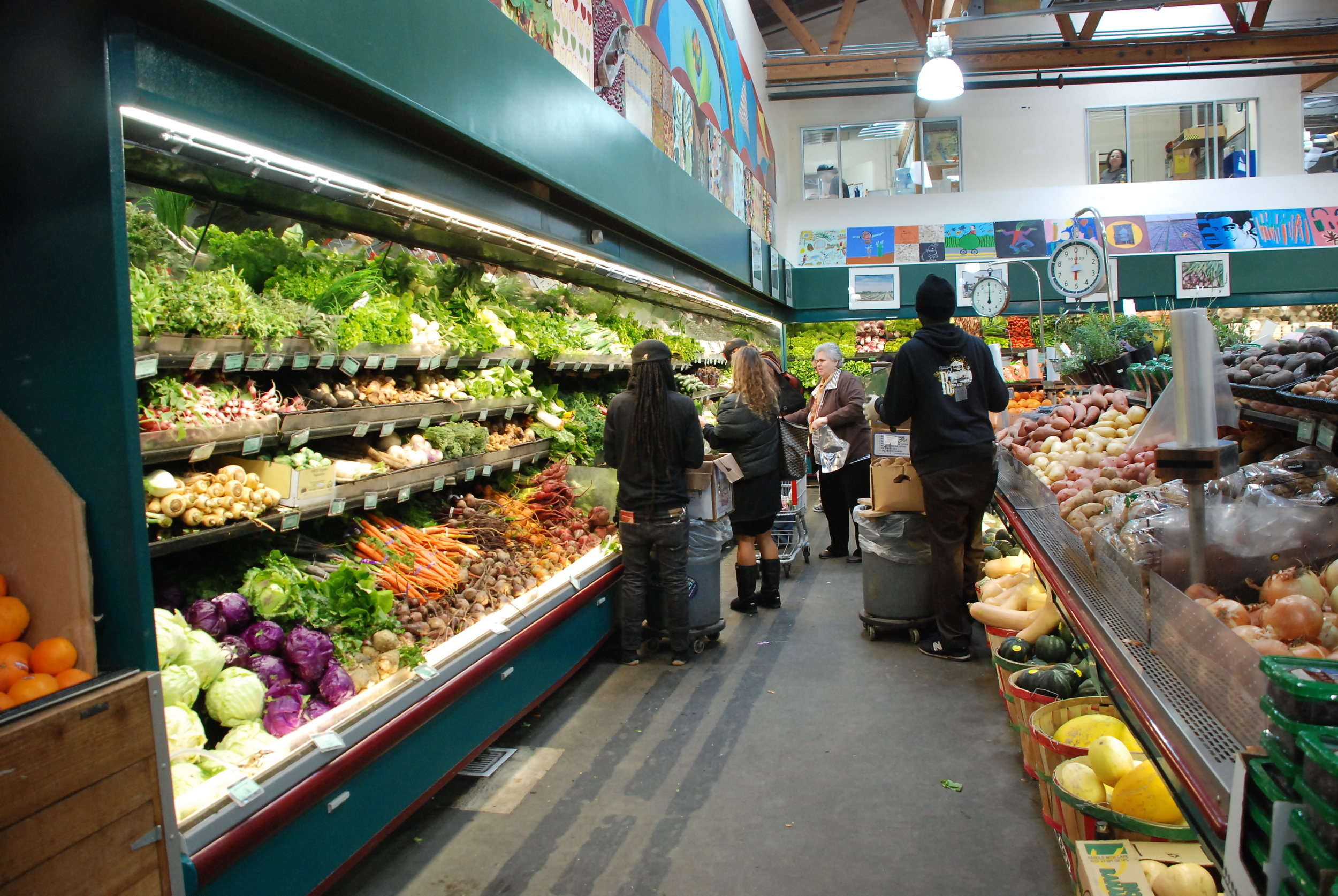 Rainbow Grocery is a warehouse co-op market known for its organic vegetarian items, bulk goods and supplements.