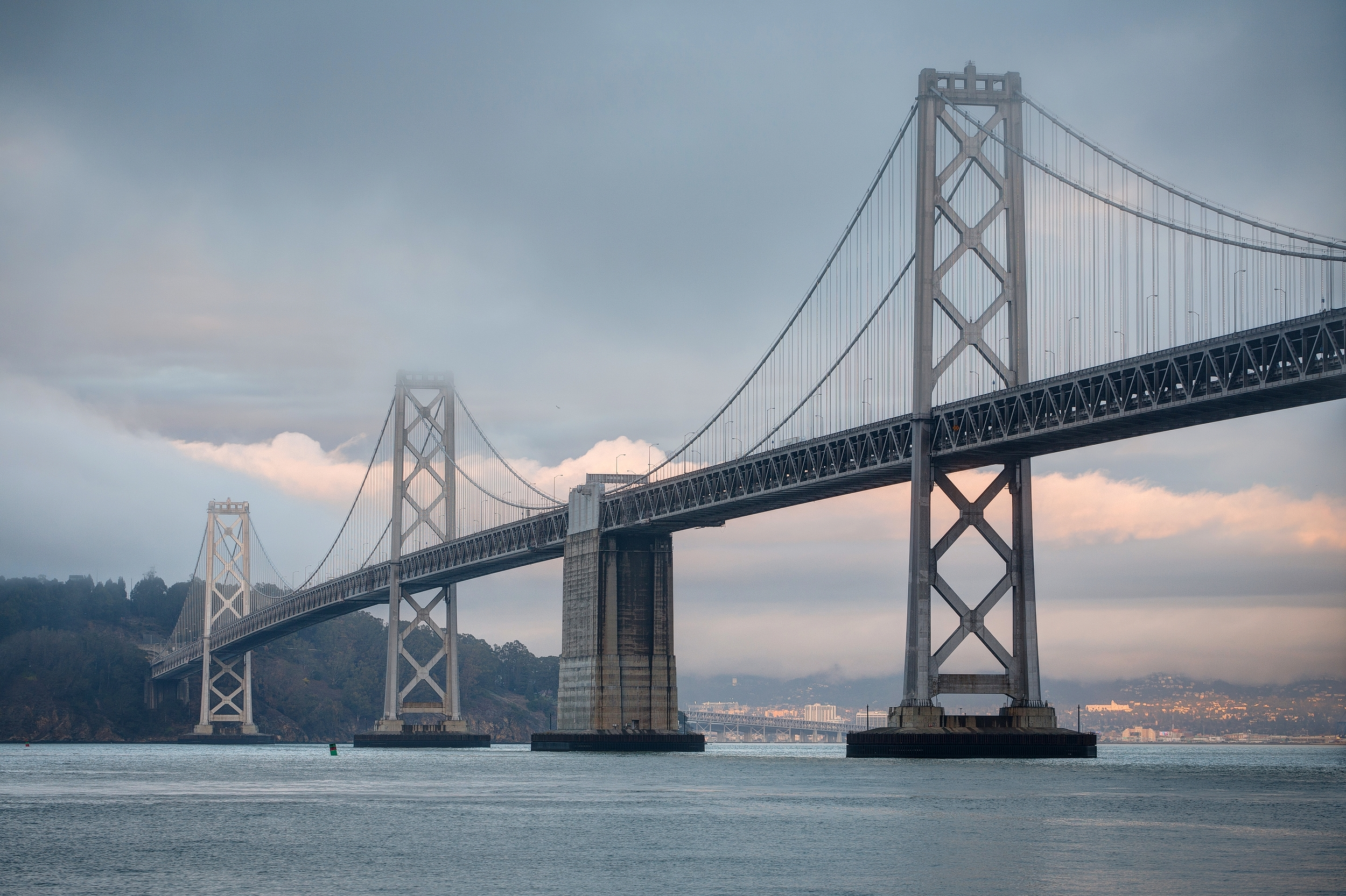Great views of the Bay Bridge can be seen from the waterfront.