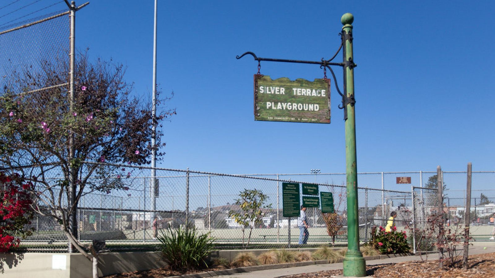 Silver Terrace Playground is a neighborhood park that features a turf field, sport courts, a baseball diamond, and play equipment.