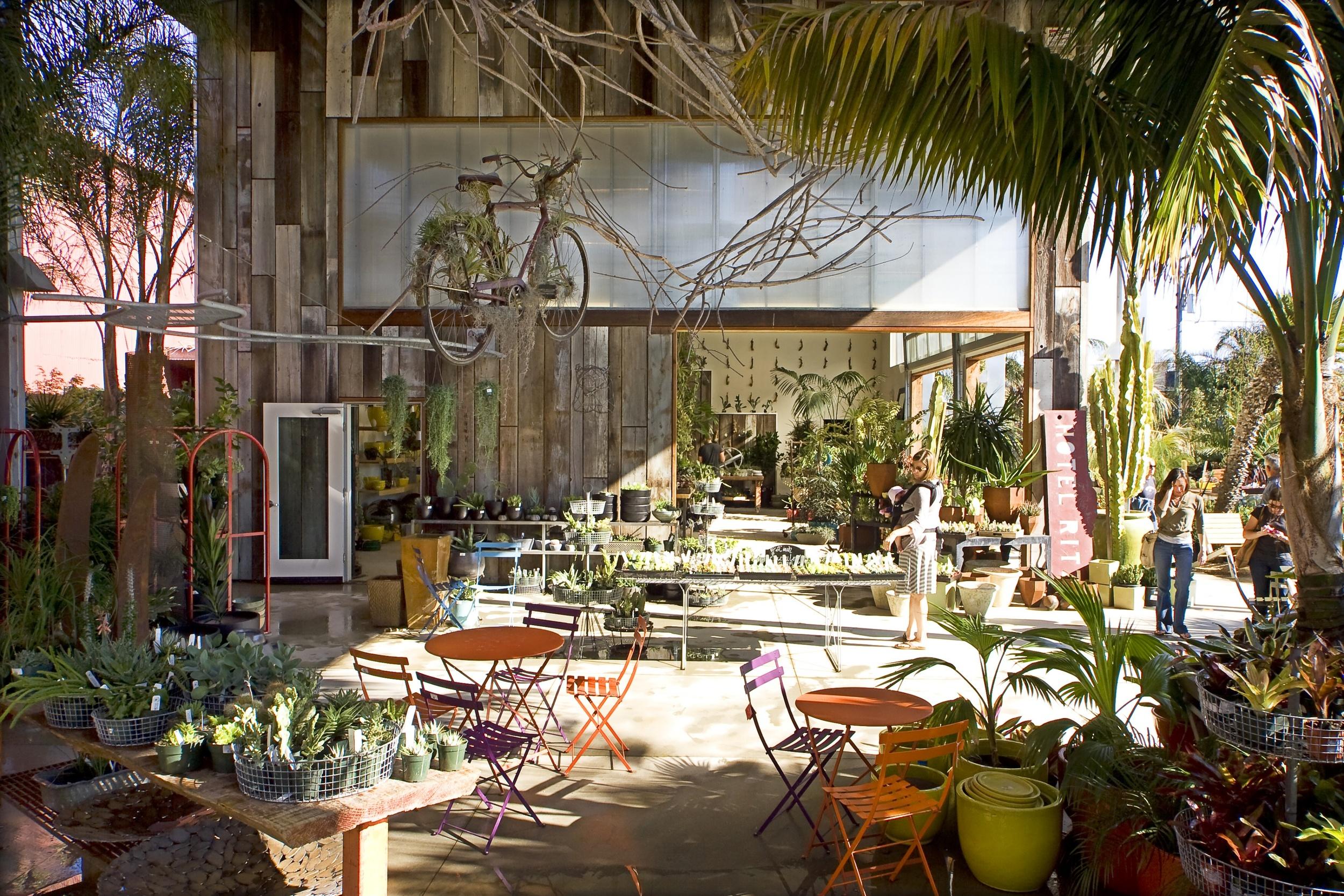 Flora Grubb Gardens is an open-air gardening center offers unique plants, garden décor, and an espresso bar.