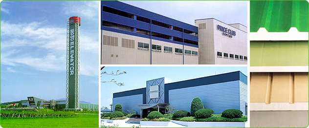 - Sandwich panel - Steel plate for roof in factory complex
