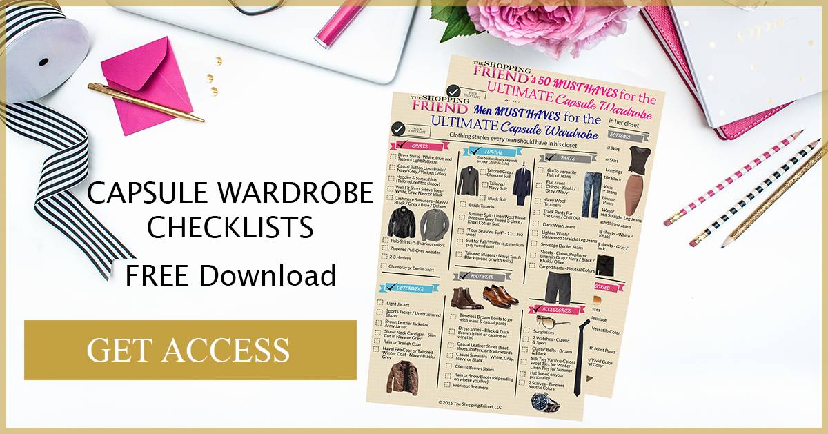 Download the Wardrobe Essentials Checklists that our top personal stylists use in their client consultations. Use them to do your own closet edits and shopping trips.
