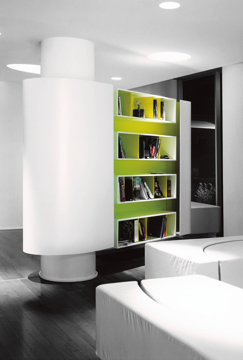mezzanine library with rotating bookshelves