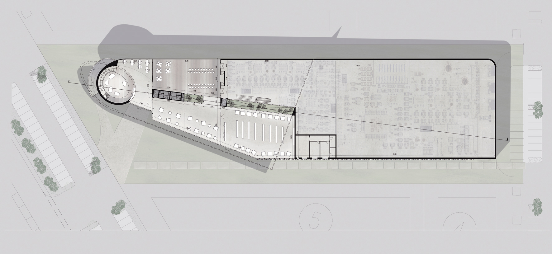 site plan   On the inside, the knot is where the level change between the two floors takes place, generating a dynamic double height space. The exterior cladding is shaped according to the window openings both horizontal and vertical which both encloses and describes the volumes of the building.