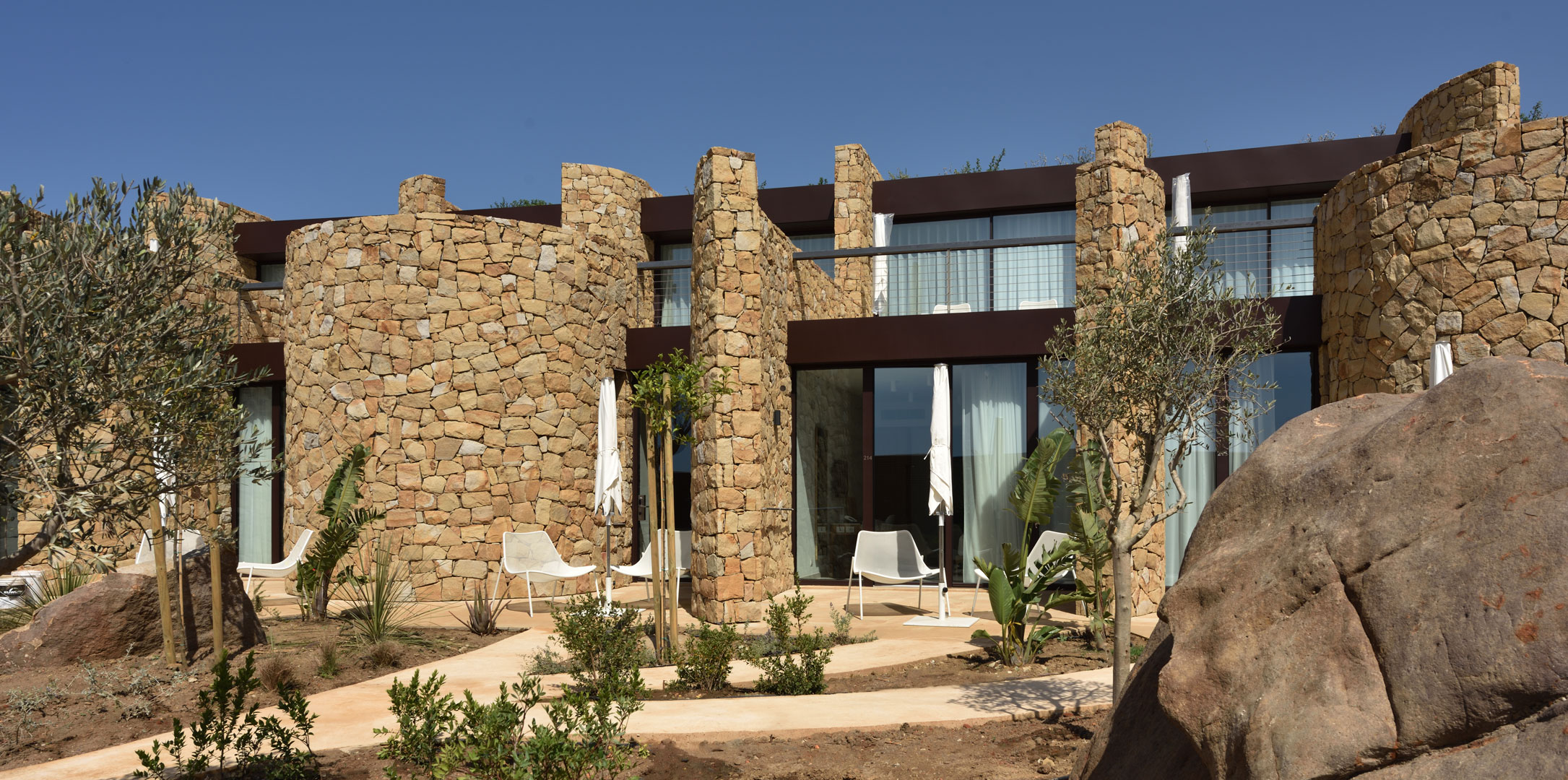 dry stone wall buildings_ view of the guest rooms