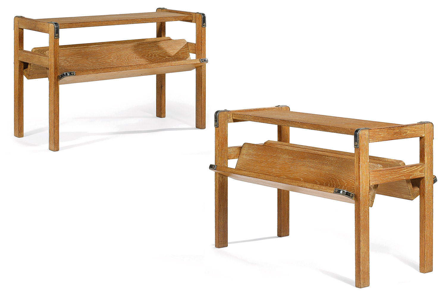 Jacques Adnet (1900-1984) White oak and leather mounted side tables, Tajan Paris