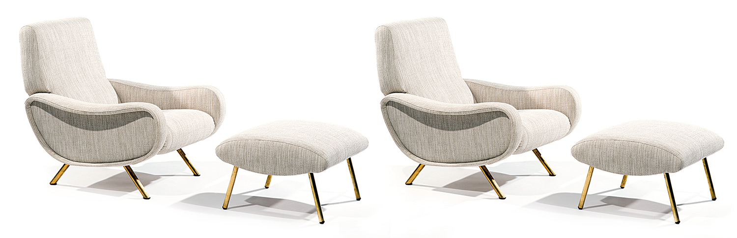 Marco Zanuso & Arflex, A pair of grey lacquered steel wooden framed lady armchairs and footrests, Tajan Paris