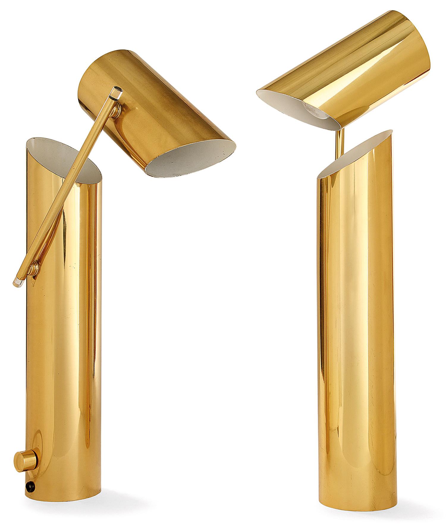Angleo Lelli & Arredolce, c.1950 Rare pair of Brass Adjustable Lamps, Tajan Auction House, Paris
