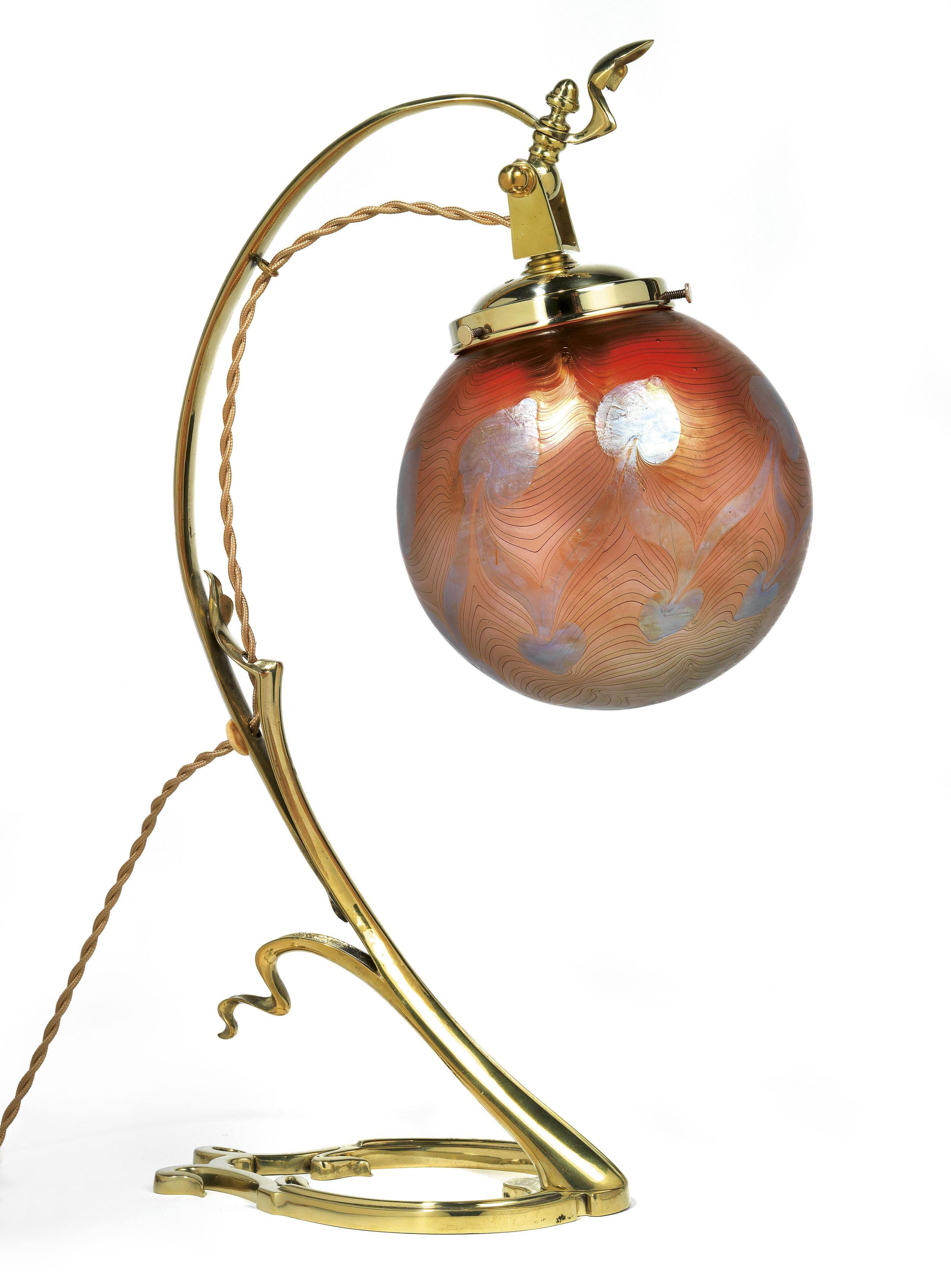 A Brass Mounted Table Lamp, Loetz, c.1901 Dorotheum Vienna