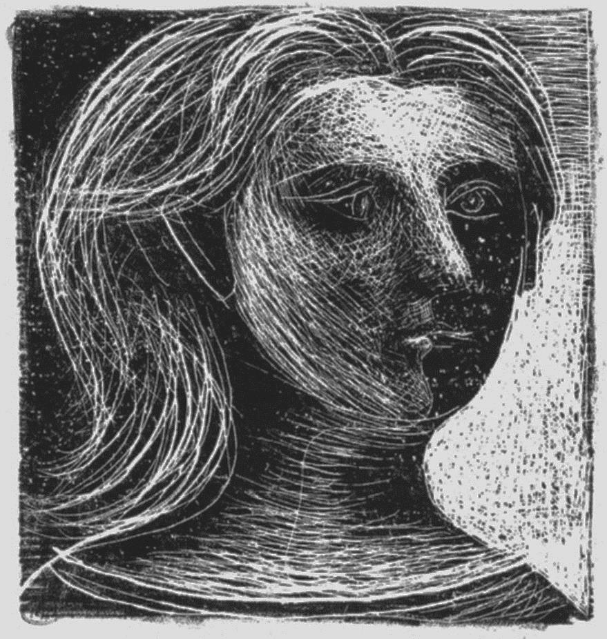 Tête de femme, face et profil  Paris, 1925 Scraper on stone covered with lithographic crayon c. 11.2 x 11.7cm